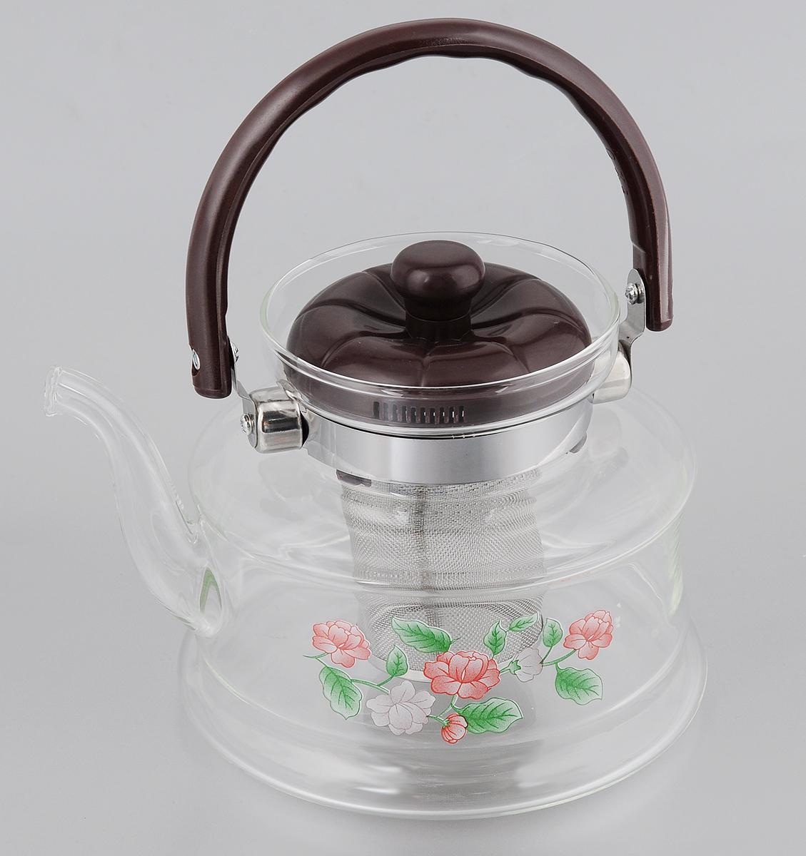 Чайник заварочный Mayer & Boch, с фильтром, 1,2 л. 2078020780Заварочный чайник Mayer & Boch полностью изготовлен из жаропрочного боросиликатного стекла и оформлен красивым цветочным принтом. Чайник оснащен сетчатым фильтром из нержавеющей стали, который задерживает чаинки и предотвращает их попадание в чашку. Прозрачные стенки дают возможность наблюдать за насыщением напитка. Подвижная ручка и крышка выполнены из бакелита. Заварочный чайник Mayer & Boch займет достойное место на вашей кухне, а также послужит хорошим подарком для друзей и близких. Диаметр (по верхнему краю): 10 см. Диаметр основания: 15 см. Высота фильтра: 8 см. Высота чайника (без учета ручки и крышки): 12 см.