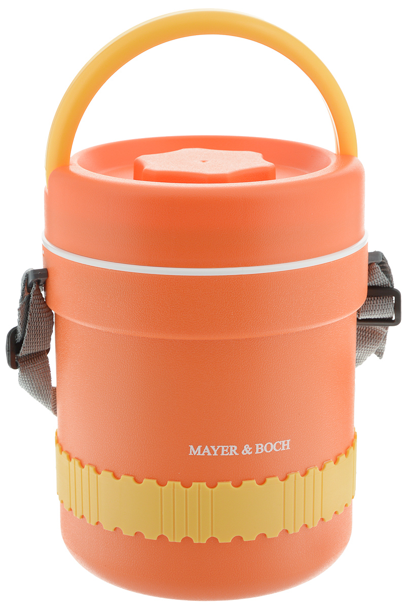 Термос пищевой Mayer & Boch, с 3 контейнерами, 2,4 л23795Термос пищевой Mayer & Boch станет прекрасным дополнением к набору ваших кухонных принадлежностей и, несомненно, пригодится во время поездок и выездов на природу. Термос предназначен для длительного хранения горячих блюд, сохраняя нужную температуру до 5 часов. Цветной корпус выполнен из пищевого полипропилена (пластика). Внутренний резервуар изготовлен из высококачественной нержавеющей стали 430, не вступающей в реакцию с продуктами и не искажающей вкус приготовленных блюд. В широкое горлышко термоса помещены три контейнера с крышками, изготовленные из пищевого пластика белого цвета. Крышки легко открываются и плотно закрываются. Это идеальный вариант для переноски сразу нескольких разных блюд. В комплекте также предусмотрены столовые приборы (пластиковые ложка и вилка), которые хранятся в специальном футляре сбоку термоса. Благодаря текстильному ремню для переноски и подвижной ручке, термос легко и удобно транспортировать. Данный термос обладает не только прекрасными термоизоляционными качествами, но и непревзойденной надежностью. Диаметр термоса: 16 см. Высота термоса: 22 см. Диаметр контейнеров: 12,5 см, 14 см. Высота контейнеров: 6 см, 4,5 см. Длина ложки/вилки: 17,5 см. Размер футляра: 19,5 х 4,5 х 3 см.