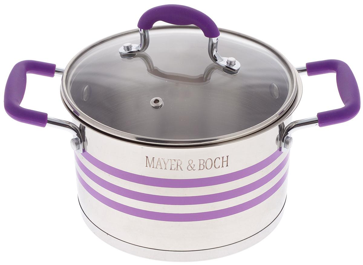 Кастрюля Mayer & Boch с крышкой, цвет: фиолетовый, стальной, 2,8 л24050Кастрюля Mayer & Boch изготовлена из высококачественной нержавеющей стали 18/10, которая придает ей привлекательный внешний вид, обеспечивает легкую очистку и долговечность. Многослойное термоаккумулирующее дно кастрюли обеспечивает наилучшее распределение и сохранение тепла. Кастрюля идеально подходит для здорового и экологичного приготовления пищи, а также диетических блюд. Ручки оснащены силиконовыми накладками, поэтому не перегреваются во время приготовления пищи. Крышка, выполненная из термостойкого стекла, позволяет следить за процессом приготовления пищи. Она оснащена отверстием для выхода пара и металлическим ободом. Форма кромки кастрюли предотвращает проливание жидкости, а благодаря правильности линий кромки в комбинации с крышкой, обеспечивается максимальная герметизация между ними. Яркий дизайн этой кастрюли придется по вкусу даже самой требовательной хозяйке. Подходит для всех типов плит, включая индукционные. Можно мыть в посудомоечной машине. Диаметр кастрюли (по верхнему краю): 18 см. Высота стенки: 11,5 см.Ширина кастрюли (с учетом ручек): 28,5 см.