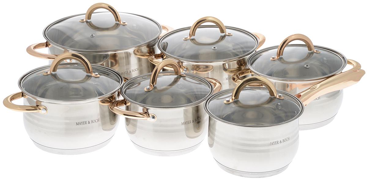 Набор посуды Mayer & Boch, 12 предметов. 2515825158Набор посуды Mayer & Boch состоит из 5 кастрюль с крышками и сотейника с крышкой. Посуда выполнена из высококачественной нержавеющей стали с усиленным индукционным дном. Внешняя поверхность посуды с зеркальной полировкой декорирована матовыми полосками. Нержавеющая сталь - это экологически чистый, безопасный для здоровья материал, который не вступает в реакцию с продуктами и не искажает вкус приготовленных блюд. Изделия снабжены крышками из термостойкого стекла с паровыпуском и металлическим ободом, а также удобными ненагревающимися стальными ручками золотого цвета, что придает посуде роскошный внешний вид. Многослойное дно обеспечит быстрый нагрев продуктов и надолго сохранит тепло. Посуда подходит для использования на всех типах плит, включая индукционные. Подходит для мытья в посудомоечной машине.Диаметр кастрюль (по верхнему краю): 16 см; 18 см; 18 см; 20 см; 24 см.Высота стенки кастрюль: 10,5 см; 11,5 см; 11,5 см; 12,5 см; 14,5 см.Объем кастрюль: 2,1 л; 2,9 л; 2,9 л; 3,9 л; 6,6 см.Ширина кастрюль (с учетом ручек): 24 см; 26 см; 26 см; 28 см; 34 см. Диаметр дна кастрюль: 13 см; 15 см; 15 см; 17 см; 21 см. Объем сотейника: 2,1 л. Диаметр сотейника (по верхнему краю): 16 см. Высота стенки сотейника: 10,5 см. Диаметр дна сотейника: 13 см. Длина ручки сотейника: 17 см.