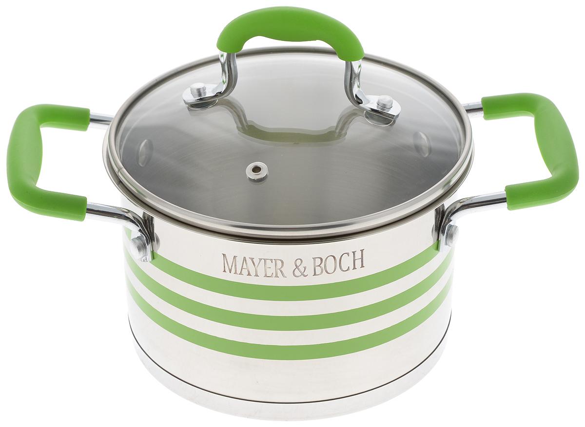 Кастрюля Mayer & Boch с крышкой, цвет: зеленый, стальной, 2 л24054Кастрюля Mayer & Boch изготовлена из высококачественной нержавеющей стали 18/10, которая придает ей привлекательный внешний вид, обеспечивает легкую очистку и долговечность. Многослойное термоаккумулирующее дно с прослойкой из алюминия обеспечивает наилучшее распределение и сохранение тепла. Кастрюля идеально подходит для здорового и экологичного приготовления пищи, а также диетических блюд. Ручки оснащены силиконовыми накладками, поэтому не перегреваются во время приготовления пищи. Крышка, выполненная из термостойкого стекла, позволяет следить за процессом приготовления пищи. Она оснащена отверстием для выхода пара и металлическим ободом. Форма кромки кастрюли предотвращает проливание жидкости, а благодаря правильности линий кромки в комбинации с крышкой, обеспечивается максимальная герметизация между ними. Яркий дизайн этой кастрюли придется по вкусу даже самой требовательной хозяйке. Подходит для всех типов плит, включая индукционные. Можно мыть в посудомоечной машине. Внутренний диаметр кастрюли (по верхнему краю): 16 см. Высота стенки: 10,5 см.Ширина кастрюли (с учетом ручек): 26 см.