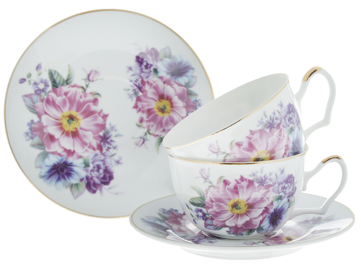 Набор чайный Loraine Фиалки, 4 предмета. 2458624586Чайный набор Loraine Фиалки состоит из 2 чашек и 2 блюдец. Изделия, выполненные из высококачественной керамики, имеют элегантный дизайн и классическую круглую форму. Такой набор прекрасно подойдет как для повседневного использования, так и для праздников. Чайный набор Loraine Фиалки - это великолепное дизайнерское решение для вашей кухни илистоловой. Объем чашки: 250 мл. Диаметр чашки (по верхнему краю): 9,7 см. Высота чашки: 6 см.Диаметр блюдца (по верхнему краю): 15,5 см.Высота блюдца: 2 см.