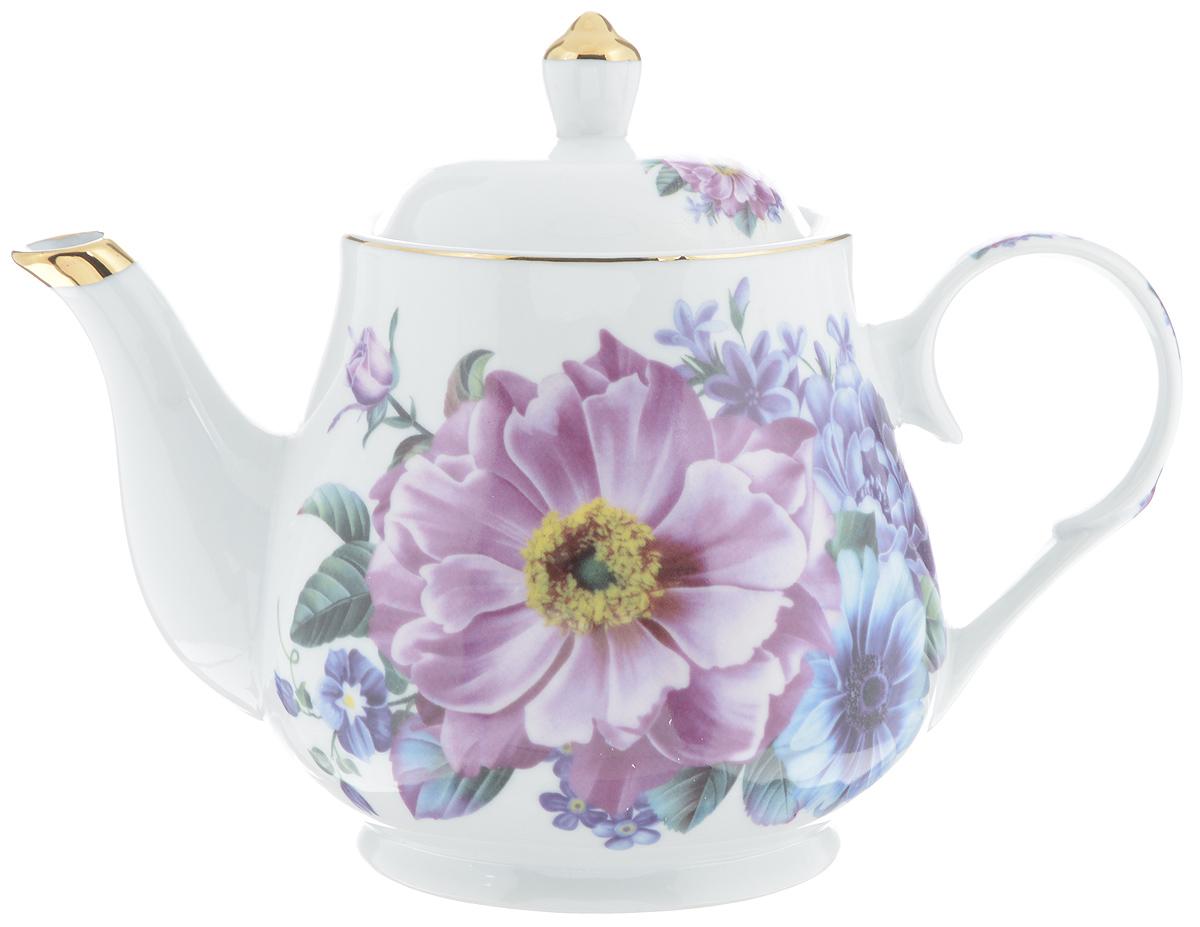 Чайник заварочный Loraine, 1 л. 2456624566Заварочный чайник Loraine изготовлен из высококачественной керамики. Он имеет изящную форму и декорирован нежным цветочным рисунком. Чайник сочетает в себе стильный дизайн с максимальной функциональностью. Красочность оформления придется по вкусу и ценителям классики, и тем, кто предпочитает утонченность и изысканность. Чайник упакован в подарочную коробку из плотного картона. Внутренняя часть коробки задрапирована атласом, и чайник надежно крепится в определенном положении благодаря особым выемкам в коробке. Высота чайника (без учета крышки): 13 см. Высота чайника (с учетом крышки): 18 см. Диаметр (по верхнему краю): 10 см. Диаметр основания: 9,5 см.