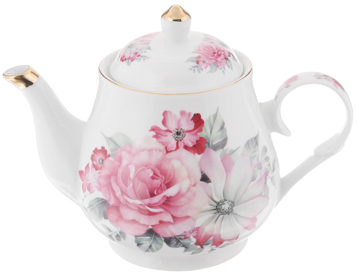 Чайник заварочный Loraine, 1,1 л. 2457024570Заварочный чайник Loraine изготовлен из керамики белого цвета. Чайник декорирован изображением цветов, носик чайника и крышка оформлены золотистой эмалью. Заварочный чайник поможет вам в приготовлении вкусного и ароматного чая, а также станет украшением вашей кухни. Яркий дизайн придает чайнику особый шарм, он удобен в использовании и понравится каждому. Такой заварочный чайник станет приятным и практичным подарком на любой праздник. Чайник упакован в подарочную коробку. Диаметр (по верхнему краю): 9,5 см. Высота (без учета крышки): 13 см.