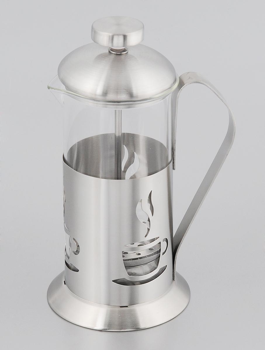 Френч-пресс Mayer & Boch, 350 мл. 22862286Френч-пресс Mayer & Boch позволит быстро и просто приготовить свежий и ароматный чай или кофе. Колба изготовлена из высококачественного жаропрочного боросиликатного стекла, устойчивого к окрашиванию, царапинам и термошоку. Фильтр-поршень из нержавеющей стали выполнен по технологии press-up для обеспечения равномерной циркуляции воды. Подставка из матовой нержавеющей стали декорирована оригинальной перфорацией в виде чашечки с кофе. Готовить напитки с помощью френч-пресса очень просто. Насыпьте внутрь заварку и залейте кипятком. Остановить процесс заваривания легко. Для этого нужно просто опустить поршень, и заварка уйдет вниз, оставляя вверху напиток, готовый к употреблению. Заварочный чайник с прессом - это совершенный чайник для ежедневного использования. Можно мыть в посудомоечной машине. Не подходит для использования в микроволновой печи. Диаметр колбы: 7,5 см. Диаметр основания френч-пресса: 9 см. Высота (с учетом крышки): 19 см.