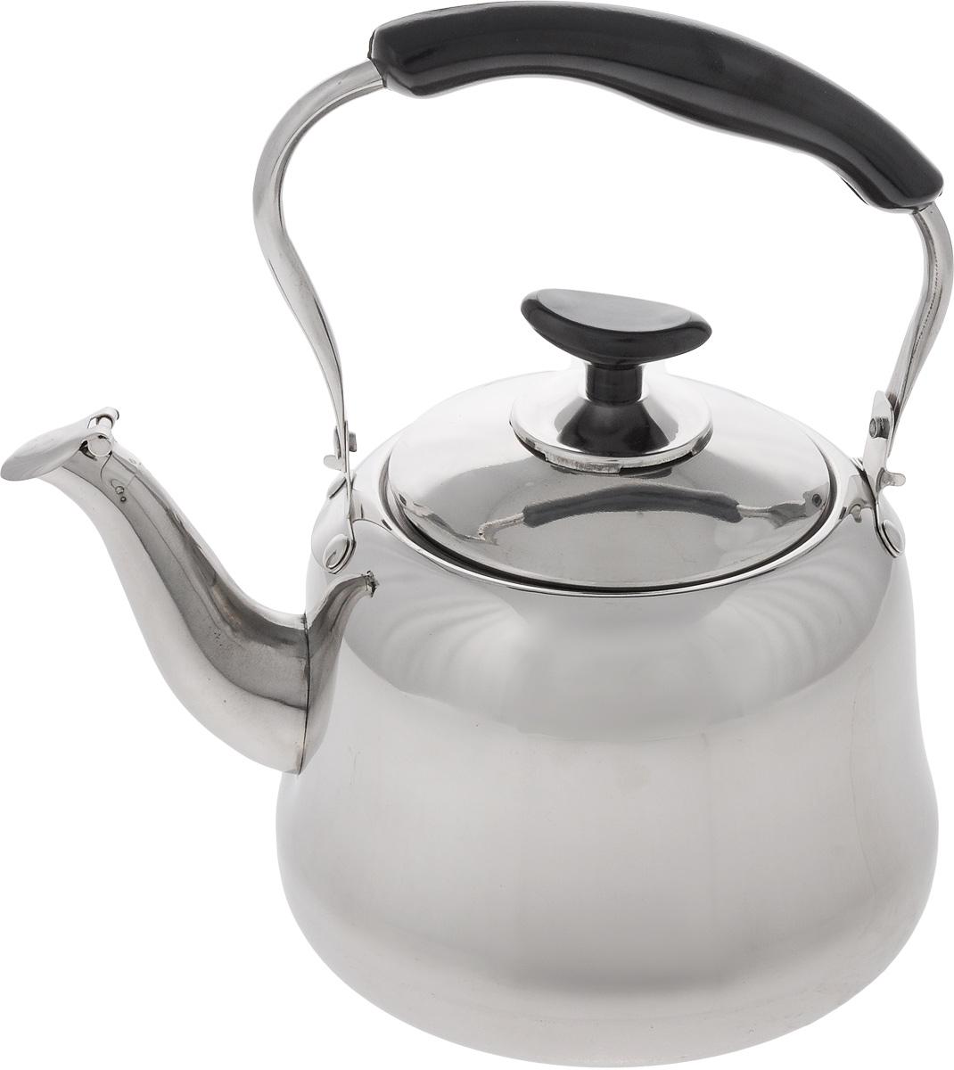 Чайник Mayer & Boch, со свистком, 2 л. 2350523505Чайник Mayer & Boch изготовлен из высококачественной нержавеющей стали. Гигиеничен и устойчив к износу при длительном использовании. Гладкая и ровная поверхность существенно облегчает уход за посудой. Благодаря высококачественным материалам, при кипячении чайник сохраняет все полезные свойства воды. Носик чайника оснащен свистком, звуковой сигнал которого подскажет, когда закипит вода. Это освободит вас от непрерывного наблюдения за чайником. Эргономичная ручка выполнена из бакелита. Чайник со свистком Mayer & Boch подходит для использования на газовых, электрических и стеклокерамических плитах. Также изделие можно мыть в посудомоечной машине. Диаметр чайника (по верхнему краю): 10 см. Высота чайника (без учета крышки и ручки): 11,5 см. Высота чайника (с учетом ручки): 22,5 см.