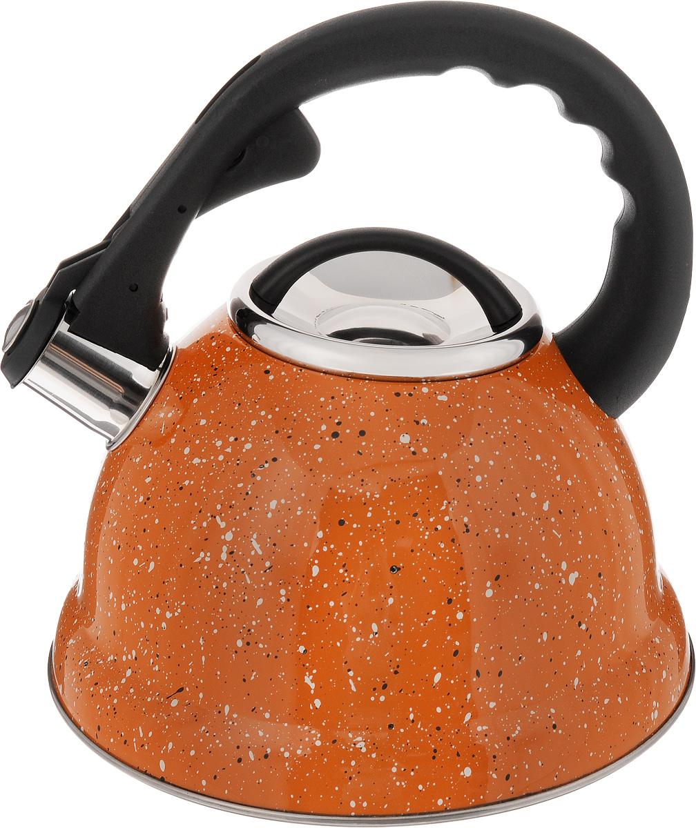 Чайник Mayer & Boch, со свистком, цвет: оранжевый, черный, белый, 2,8 л. 2497424974Чайник Mayer & Boch выполнен из высококачественной нержавеющей стали, что обеспечивает долговечность посуде. Фиксированная ручка из пластика снабженамеханизмом для открывания носика, делает использование чайника очень удобным и безопасным. Носик оснащен свистком, что позволит вам контролировать процесс подогрева или кипячения воды. Капсулированное дно с прослойкой из алюминия равномерно распределяет тепло. Эстетичный и функциональный, с эксклюзивным дизайном, чайник будет оригинально смотреться в любом интерьере. Подходит для использования на газовых, электрических, стеклокерамических и галогеновых плитах, кроме индукционных. Можно мыть в посудомоечной машине. Высота чайника (без учета ручки и крышки): 11,5 см.Высота чайника (с учетом ручки): 23 см.Диаметр чайника (по верхнему краю): 10 см.