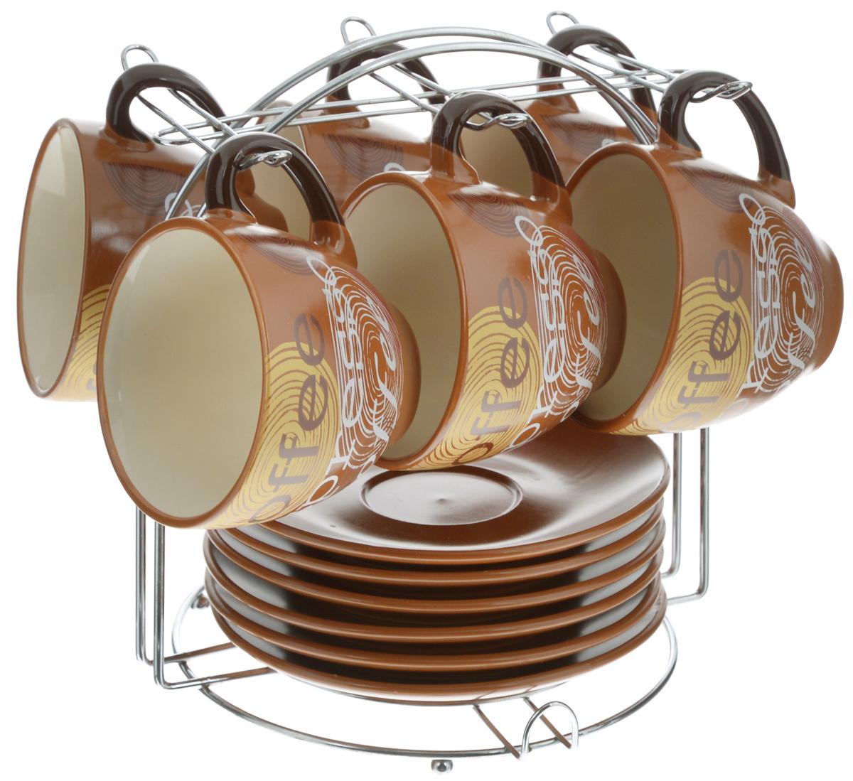 Набор чайный Loraine, на подставке, 13 предметов. 2353723537Набор Loraine состоит из шести чашек и шести блюдец, изготовленных из высококачественной керамики и оформленных стильным рисунком. Изделия расположены на металлической подставке. Такой набор подходит для подачи чая или кофе.Изящный дизайн придется по вкусу и ценителям классики, и тем, кто предпочитает утонченность и изысканность. Он настроит на позитивный лад и подарит хорошее настроение с самого утра. Чайный набор Loraine - идеальный и необходимый подарок для вашего дома и для ваших друзей в праздники.Можно использовать в микроволновой печи, также мыть в посудомоечной машине. Объем чашки: 220 мл. Диаметр чашки по верхнему краю: 9 см. Высота чашки: 7,5 см. Диаметр блюдца: 14,5 см. Высота блюдца: 2,2 см.Размер подставки: 19 х 19,5 х 21 см.
