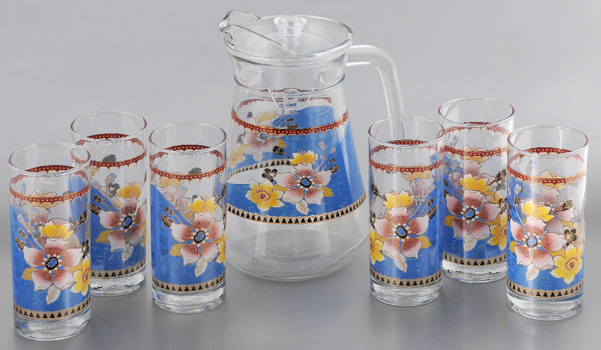 Набор питьевого стекла Loraine, 7 предметов. 2406424064Набор Loraine состоит из 6 стаканов и кувшина, выполненных из высококачественного стекла. Изделия декорированы изысканным цветочным рисунком.Кувшин дополнен прозрачной пластиковой крышкой.Благодаря такому набору пить напитки будет еще вкуснее. Набор Loraine станет также отличным подарком на любой праздник. Подходит для горячих и холодных напитков. Идеальный дизайн для классической сервировки стола. Не рекомендуется мыть в посудомоечной машине. Объем стакана: 285 мл. Диаметр стакана (по верхнему краю): 6 см. Высота стакана: 14 см. Объем кувшина: 1,3 л. Высота кувшина: 21 см. Диаметр (по верхнему краю): 10 см.