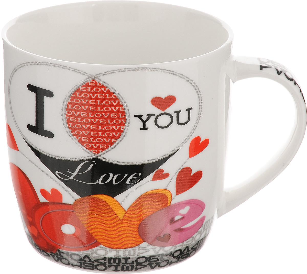 Кружка Loraine, цвет: белый, красный, черный, 320 мл. 2446924469Оригинальная кружка Loraine выполнена из высококачественного фарфора и оформлена красочным рисунком. Она станет отличным дополнением к сервировке семейного стола и замечательным подарком для ваших родных и друзей.Диаметр кружки (по верхнему краю): 8,5 см