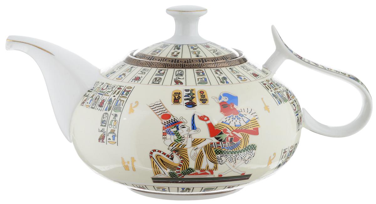 Чайник заварочный Loraine Египет, с фильтром, 1 л21148Заварочный чайник Loraine Египет изготовлен из высококачественной керамики и дополнен металлическим фильтром. Он имеет изящную форму и декорирован оригинальным рисунком. Чайник сочетает в себе стильный дизайн с максимальной функциональностью. Красочность оформления придется по вкусу и ценителям классики, и тем, кто предпочитает утонченность и изысканность. Чайник упакован в подарочную коробку из плотного картона. Высота чайника (без учета крышки и ручки): 9,5 см. Диаметр (по верхнему краю): 8 см. Высота чайника (с учетом крышки): 12,5 см.Высота фильтра: 5 см.
