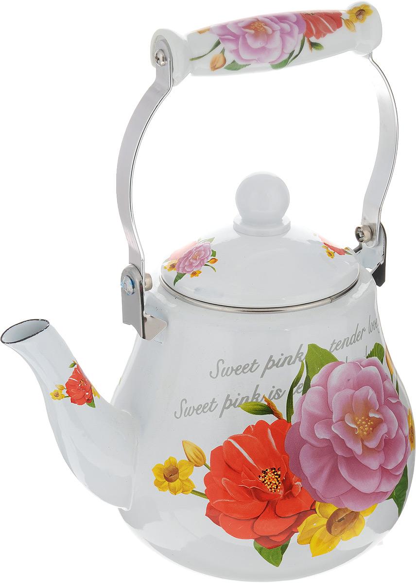 Чайник изготовлен из высококачественной углеродистой стали с эмалированным покрытием. Такой чайник гигиеничен и устойчив к износу при длительном использовании. Изделие украшено ярким рисунком с изображением цветов.  Подвижная ручка с керамической вставкой не нагревается во время кипячения, делает чайник компактным и удобным в эксплуатации. При кипячении чайник сохраняет все полезные вещества воды.  Изделие подходит для всех видов плит, включая индукционные. Можно мыть в посудомоечной машине.  Высота чайника (без учета ручки и крышки): 15 см. Высота чайника (с учетом ручки и крышки): 28 см.  Диаметр (по верхнему краю): 10 см.