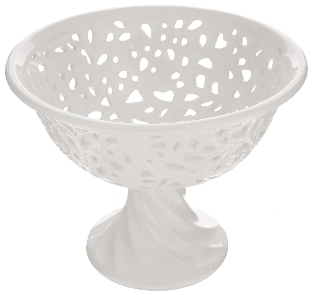 """Конфетница Loraine """"Ажур"""", изготовленная из  высококачественного доломита, украшена  оригинальным ажурным узором.  Стильная форма и интересное исполнение идеально  впишутся в любой стиль, а  универсальный белый цвет подойдет к любой  мебели."""