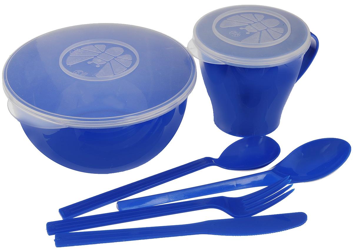 Набор посуды Solaris Походный, цвет: синий, на 1 персонуS1104Компактный минималистичный набор посуды Solaris Походный из качественного полипропилена, в удобной виниловой сумке с ручкой и молнией.Свойства посуды:Посуда из ударопрочного пищевого полипропилена предназначена для многократного использования. Легкая, прочная и износостойкая, экологически чистая, эта посуда работает в диапазоне температур от -25°С до +110°С. Можно мыть в посудомоечной машине. Эта посуда также обеспечивает:Хранение горячих и холодных пищевых продуктов;Разогрев продуктов в микроволновой печи;Приготовление пищи в микроволновой печи на пару (пароварка);Хранение продуктов в холодильной и морозильной камере;Кипячение воды с помощью электрокипятильника.Состав набора:Миска с герметичной крышкой, 1 л;Чашка с герметичной крышкой, 0,36 л;Вилка;Ложка столовая;Нож;Ложка чайная.Диаметр миски: 15 см.Высота миски: 7,5 см.Диаметр чашки по верхнему краю: 9,1 см.Диаметр дна чашки: 5,7 см.Высота чашки: 8,7 см.Длина ложки: 19 см.Длина вилки: 19 см.Длина ножа: 19 см.Длина чайной ложки: 13,5 см.