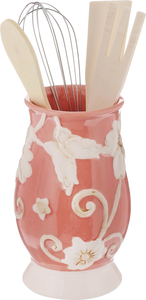 Набор кухонных принадлежностей Mayer & Boch, цвет: розовый, белый, 5 предметов. 2244722447Набор кухонных принадлежностей Mayer & Boch состоитиз ложки, лопатки, вилки, венчика и подставки.Ложка, вилка и лопатка выполнены из натуральногодерева. Венчик выполнен из металла. Подставкаизготовлена из доломитовой керамики в видевазы, украшенной красочным рельефным изображением.Эксклюзивный дизайн, эстетичность ифункциональность набора Mayer & Boch позволят емузанять достойное местосреди кухонного инвентаря.Длина ложки: 21 см.Размер рабочей поверхности ложки: 4,5 х 3 х 0,3 см.Длина вилки: 20,5 см.Размер рабочей поверхности вилки: 4 х 3 х 0,3 см. Длина лопатки: 20,5 см.Размер рабочей поверхности лопатки: 6 х 3 х 0,3 см.Длина венчика: 21 см.Диаметр подставки (по верхнему краю): 7 см.Высота подставки: 14,5 см.