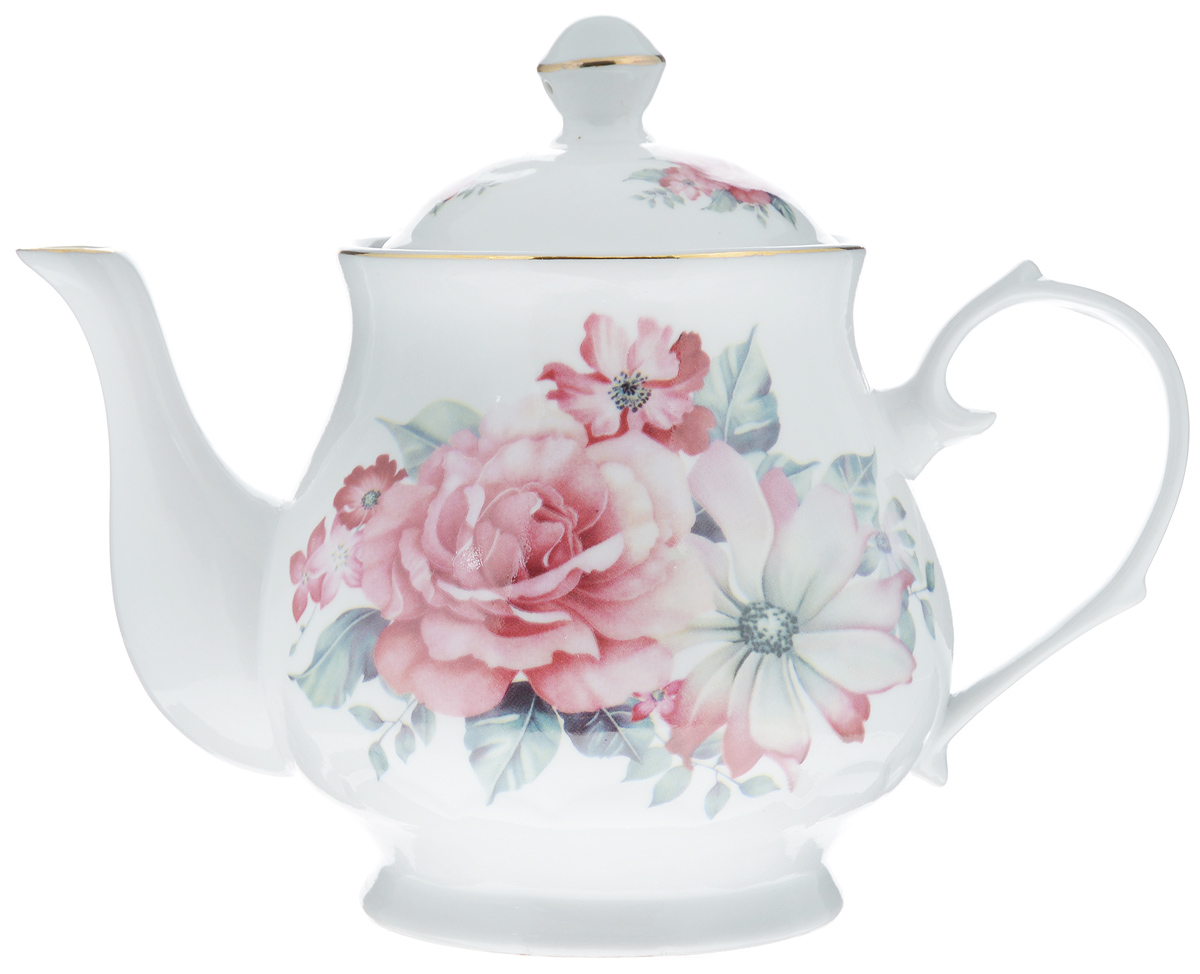 Чайник заварочный Loraine, 800 мл. 2457924579Заварочный чайник Loraine изготовлен из высококачественной керамики. Посудаоформлена ярким рисунком. Такой чайник идеально подойдет для заваривания чая. Он хорошо держит температуру, что способствует более полному раскрытию цвета, аромата и вкуса чайного букета. Чайник оснащен сетчатым фильтром, который задерживает чаинки и предотвращает их попадание в чашку.Изделие прекрасно дополнит сервировку стола к чаепитию и станет его неизменным атрибутом.Диаметр (по верхнему краю): 6,5 см. Диаметр основания: 8 см.Высота чайника (без учета крышки): 12 см.