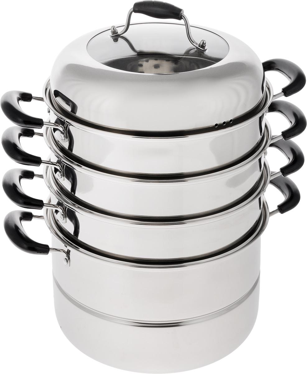 """Мантоварка """"Mayer & Boch"""" - это специализированная кастрюля для приготовления на пару. Она изготовлена из высококачественной  нержавеющей стали.  Специальная многоуровневая конструкция позволяет приготовить одновременно до трех разных блюд национальной кухни:  мантов, паровых пельменей и других блюд. Бакелитовые ручки не нагреваются. Крышка изготовлена из термостойкого стекла и нержавеющей стали. Такая крышка позволяет следить за процессом приготовления пищи без  потери тепла. Она плотно прилегает к краю кастрюль, сохраняя аромат блюд.  Мантоварка укомплектована тремя секциями, основной кастрюлей с сеткой и крышкой. Мантоварка подходит для использования на газовых, электрических и стеклокерамических плитах. Внутренний диаметр мантоварки: 26 см. Диаметр сетки: 25,5 см. Ширина (с учетом ручек): 37 см. Высота мантоварки: 43 см. Высота одного яруса: 7,5 см. Высота нижнего яруса: 15 см."""