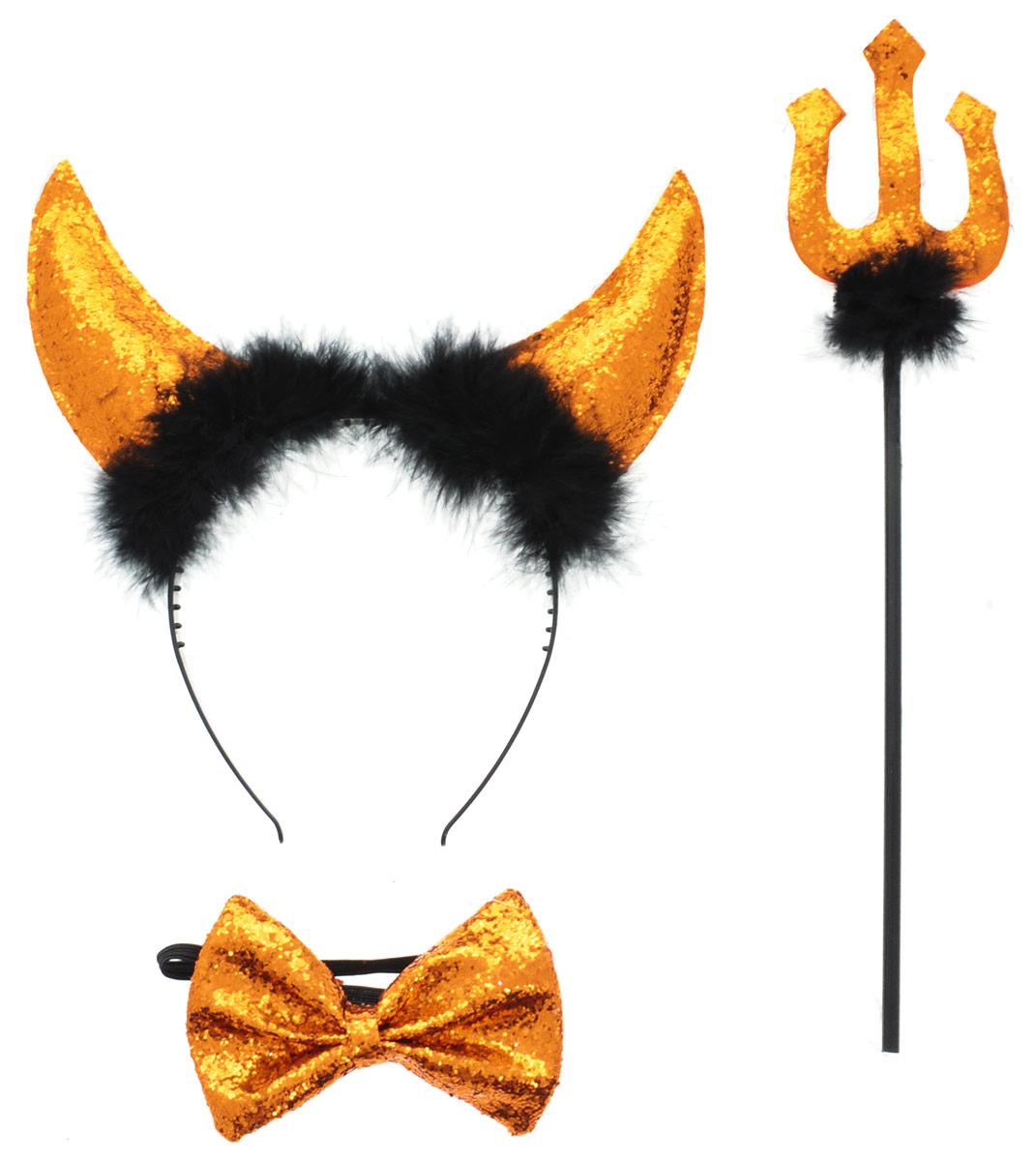 Partymania Ободок Рожки чертика с трезубцем и бабочкой цвет оранжевый -  Аксессуры для карнавальных костюмов
