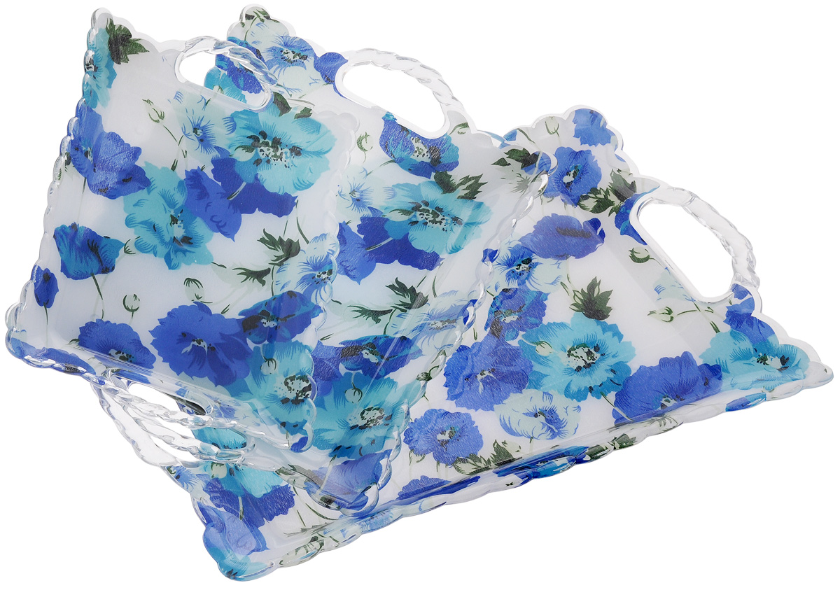 Набор подносов Mayer & Boch Синие маки, 3 шт3239Оригинальный набор Mayer & Boch Синие маки состоит из трех подносов разного размера, оснащенных удобными ручками. Изделия выполнены из высококачественного пластика и имеют рельефную окантовку по краю.Подносы отлично подойдут для красивой сервировки различных блюд, закусок и фруктов на праздничном столе. Набор подносов Mayer & Boch Синие маки станет отличным подарком на любой праздник.Размер малого подноса (с учетом ручек): 28 х 18,5 х 3,5 см.Размер среднего подноса (с учетом ручек): 36 х 24 х 3,5 см.Размер большого подноса (с учетом ручек): 44 х 29 х 3,5 см.