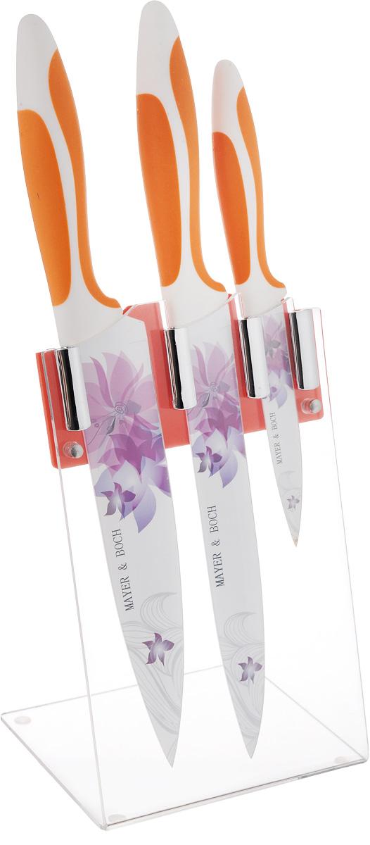 Набор ножей Mayer & Boch, 4 предмета. 2246122461Набор ножей Mayer & Boch из высококачественнойнержавеющей стали станет для вас отличнымпомощником при нарезке овощей,фруктов и мяса. Специальный дизайн ручки изполипропилена и термопластика обеспечиваетбезопасную работу и комфортноеположение в руке. Внешнее покрытие изделий Non- Stick. Подставка-стенд для ножей из акрила, котораявходит в набор, сэкономит место на рабочем столе,а оригинальный яркий дизайнвпишется в интерьер любой кухни.Рекомендуется мыть вручную.Длина лезвия поварского ножа: 20,3 см.Общая длина поварского ножа: 33 см.Длина лезвия ножа для разделки мяса: 20,3 см.Общая длина ножа для разделки мяса: 34 см.Длина лезвия универсального ножа: 11,4 см.Общая длина универсального ножа: 22 см.Размер подставки: 12 х 14 х 23 см.