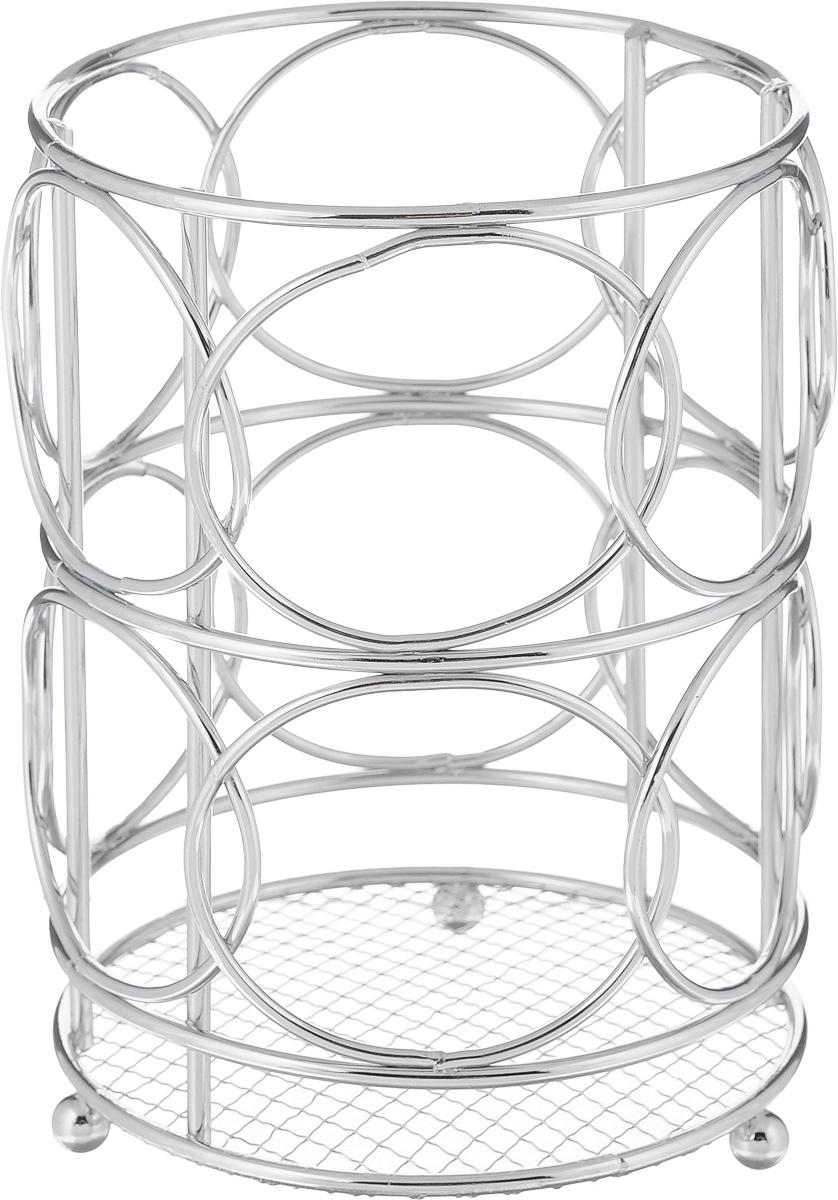 Подставка для столовых приборов Mayer & Boch, 12 х 12 х 16,8 см3416Круглая подставка для столовых приборов Mayer & Boch, изготовленная из хромированного металла, имеет три круглые ножки, которые обеспечивают ей устойчивость на любой поверхности. Красивая подставка для столовых приборов выполнена в футуристическом дизайне. Она не займет много места, а столовые приборы будут всегда под рукой.Диаметр дна подставки: 12 см.Высота подставки: 16 см.
