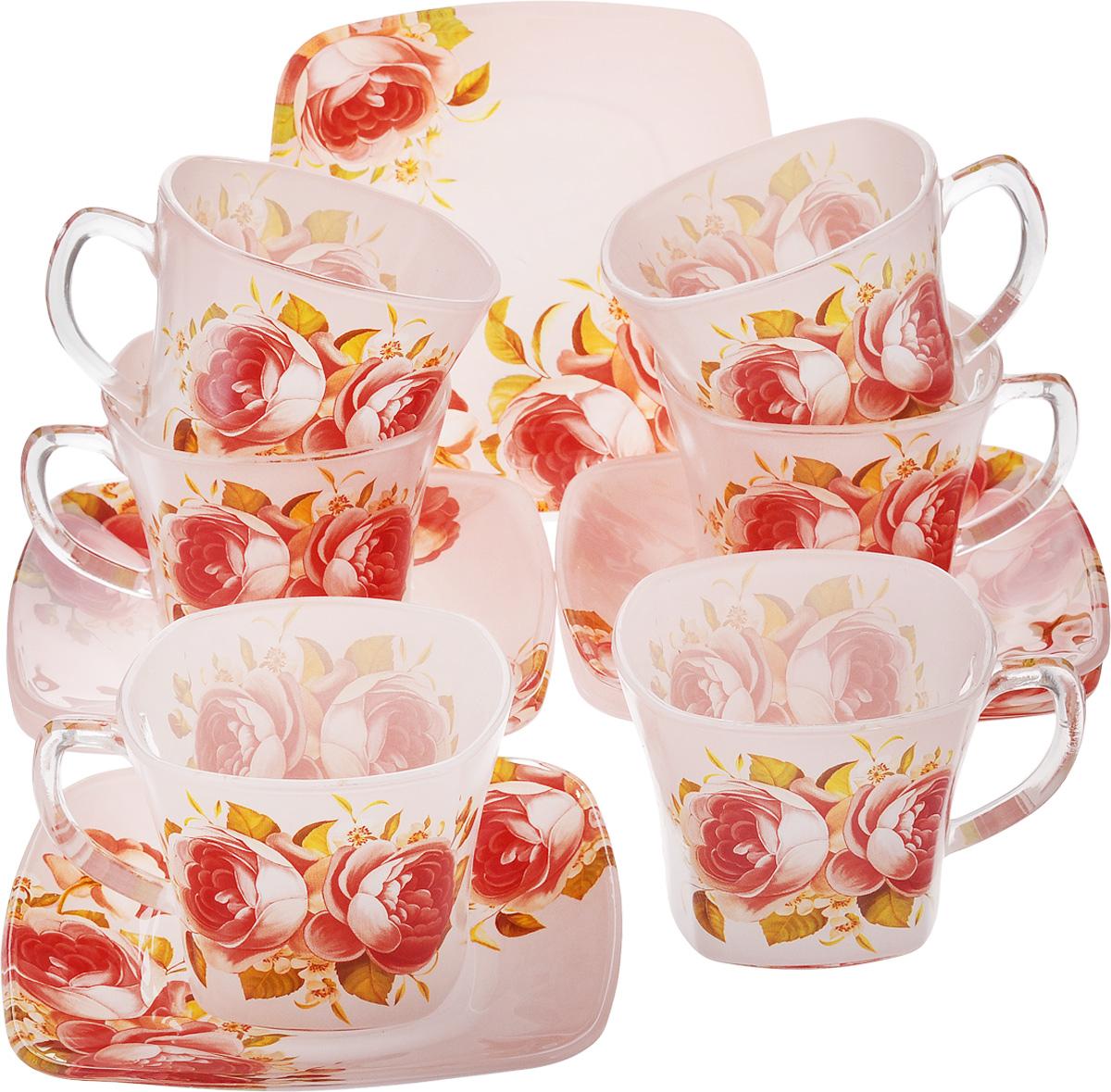 Набор чайный Loraine, 12 предметов. 2412624126Чайный набор Loraine состоит из 6 чашек и 6 блюдец. Изделия, выполненные из высококачественного стекла, имеют элегантный дизайн и классическую форму.Такой набор прекрасно подойдет как для повседневного использования, так и для праздников. Чайный набор Loraine - это не только яркий и полезный подарок для родных и близких, но и великолепное решение для вашей кухни или столовой. Объем чашки: 200 мл. Размер чашки (по верхнему краю): 8 см. Высота чашки: 7 см.Размер блюдца (по верхнему краю): 13,5 х 13,5 см.Высота блюдца: 2 см.