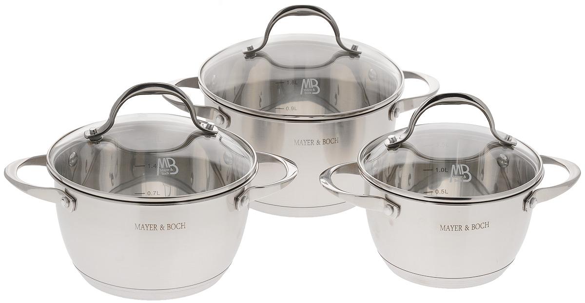 Набор кастрюль  Mayer & Boch  с крышками, 6 предметов. 23402 - Посуда для приготовления