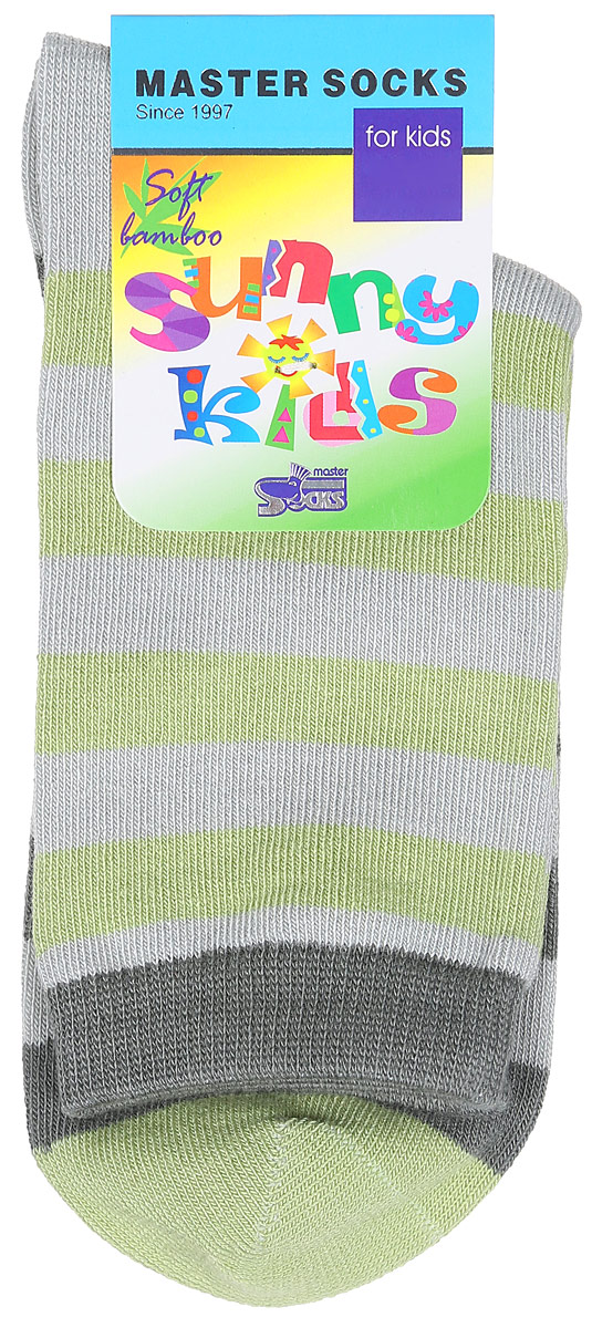 Носки детские Master Socks Sunny Kids, цвет: серо-зеленый. 82602. Размер 1682602Детские носки Master Socks Sunny Kids изготовлены из высококачественных материалов. Ткань очень мягкая и тактильно приятная. Содержание бамбука в составе обеспечивает высокую прочность, эластичность и воздухопроницаемость. Изделие хорошо стирается, длительное время сохраняет привлекательный внешний вид. Эластичная резинка мягко облегает ножку ребенка, обеспечивая удобство и комфорт. Модель оформлена принтом в полоску. Удобные и прочные носочки станут отличным дополнением к детскому гардеробу!Уважаемые клиенты!Размер, доступный для заказа, является длиной стопы.