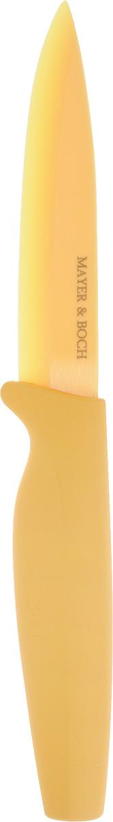 Нож универсальный Mayer & Boch, керамический, цвет: желтый. 2265522655Нож универсальный Mayer & Boch выполнен из высококачественной керамики, рукоятка изготовлена из термопластика. Керамическое лезвие имеет хирургическую точность, оно остается острым дольше, чем все другие виды ножей и разрезает любые виды продуктов. Высокая плотность и качество ножа делают его устойчивым к пищевым кислотам, препятствуют появлению на нем пятен или ржавчины. Нож не придает металлического вкуса или запаха продуктам, а также имеет поверхность, не допускающую прилипания продуктов, что делает нож более гигиеничным и безопасным.Легко моется. При мытье допускается только быстро ополоснуть нож и тут же вытереть его кухонным полотенцем. Длина ножа: 20 см.Длина лезвия: 10,2 см.
