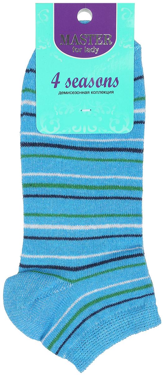 Носки женские Master Socks, цвет: голубой, белый, синий, зеленый. 55103. Размер 2355103Удобные носки Master Socks, изготовленные из высококачественного комбинированного материала, очень мягкие и приятные на ощупь, позволяют коже дышать. Эластичная резинка плотно облегает ногу, не сдавливая ее, обеспечивая комфорт и удобство. Носки с укороченным паголенком и полупрозрачными полосками на верхней части носка. Модель оформлена принтом в полоску.Удобные и комфортные носки великолепно подойдут к любой вашей обуви.