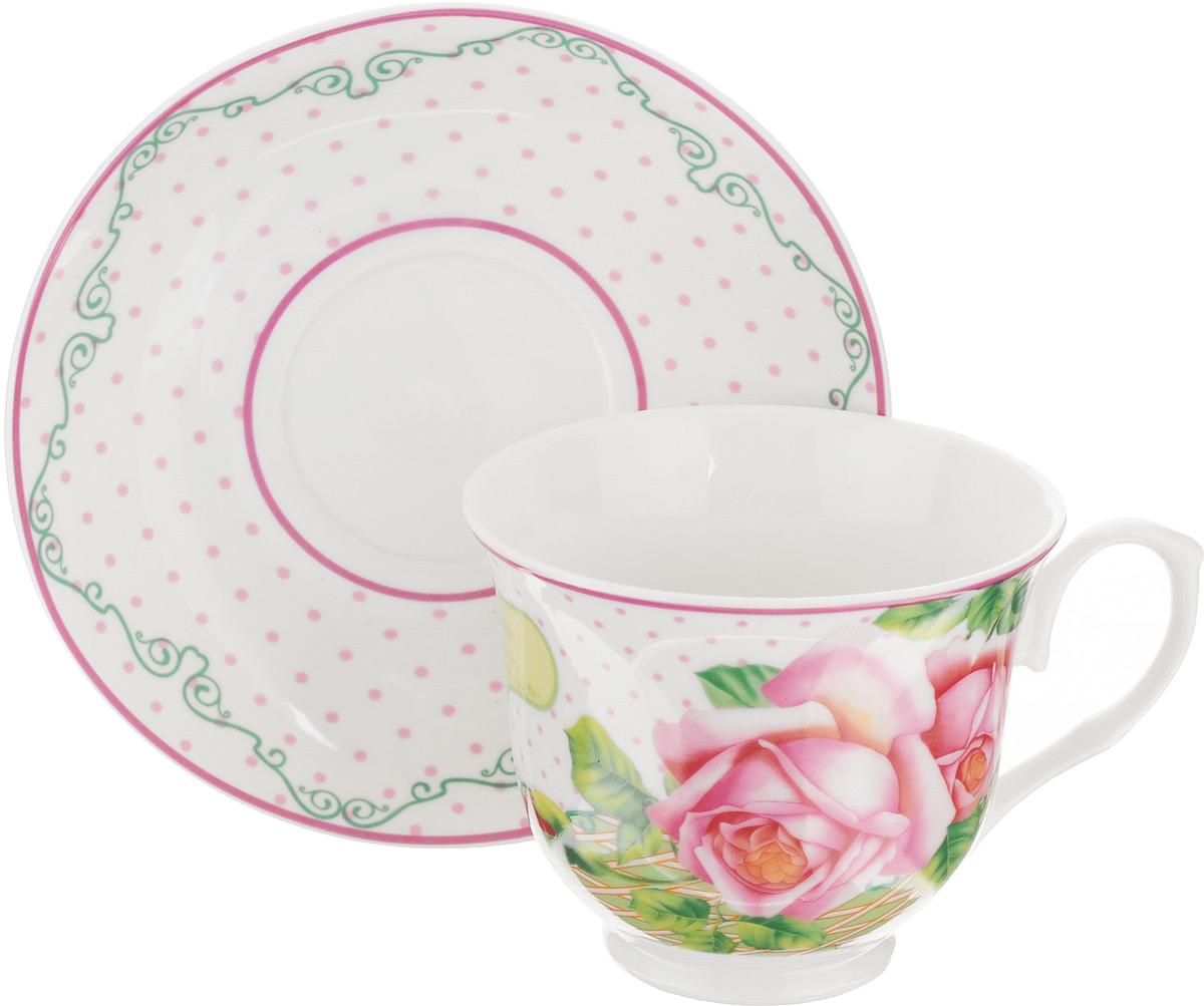 Чайная пара Loraine, 2 предмета. 2302923029Чайная пара Loraine состоит из чашки и блюдца. Изделия выполнены извысококачественного костяного фарфора, имеют элегантный дизайн и классическую круглую форму.Чайная пара Loraine - это не только яркий и полезный подарок для родных иблизких, а также великолепное дизайнерское решение для вашей кухни или столовой.Объем чашки: 220 мл. Диаметр чашки (по верхнему краю): 9 см. Высота чашки: 7,5 см.Диаметр блюдца (по верхнему краю): 14 см.Высота блюдца: 2 см.