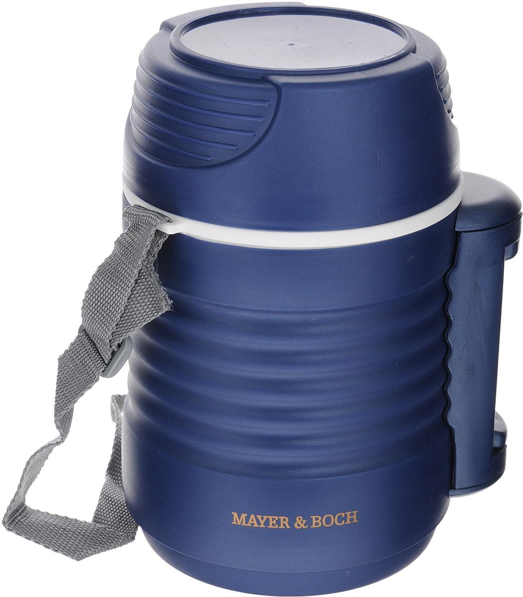 Термос пищевой Mayer & Boch, с 2 контейнерами, цвет: синий, 1,3 л23732Термос пищевой Mayer & Boch предназначен для длительного хранения горячих и холодных блюд. Цветной корпус выполнен из пищевого полипропилена (пластика). Внутренний резервуар изготовлен из высококачественной нержавеющей стали, не вступающей в реакцию с продуктами и не искажающей вкус приготовленных блюд. В широкое горлышко термоса помещены два контейнера с крышками, изготовленные из пищевого пластика белого цвета. Крышки легко открываются и плотно закрываются. Это идеальный вариант для переноски сразу нескольких разных блюд.Благодаря текстильному ремню и боковой ручке, термос легко и удобно транспортировать. Данный термос обладает не только прекрасными термоизоляционными качествами, но и непревзойденной надежностью. Диаметр термоса: 10,5 см. Высота термоса (без учета крышки): 19 см. Высота термоса (с учетом крышки): 22 см. Диаметр контейнеров: 10 см, 10 см. Высота контейнеров: 5 см, 9,5 см.