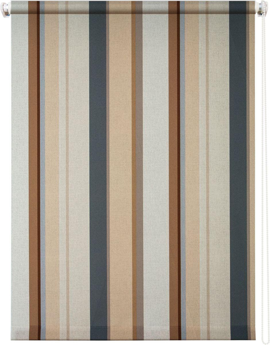 """Штора рулонная Уют """"Стокгольм"""" выполнена из прочного полиэстера с обработкой специальным составом, отталкивающим пыль. Ткань не выцветает, обладает отличной цветоустойчивостью и хорошей светонепроницаемостью. Изделие оформлено принтом в вертикальную полоску, отлично подойдет для спальни, кухни, гостиной, а также офиса или кабинета.  Штора закрывает не весь оконный проем, а непосредственно само стекло и может фиксироваться в любом положении. Она быстро убирается и надежно защищает от посторонних взглядов. Компактность помогает сэкономить пространство.  Универсальная конструкция позволяет крепить штору на раму без сверления, также можно монтировать на стену, потолок, створки, в проем, ниши, на деревянные или пластиковые рамы.  В комплект входят регулируемые установочные кронштейны и набор для боковой фиксации шторы. Возможна установка с управлением цепочкой как справа, так и слева. Изделие при желании можно самостоятельно уменьшить.  Такая штора станет прекрасным элементом декора окна и гармонично впишется в интерьер любого помещения."""