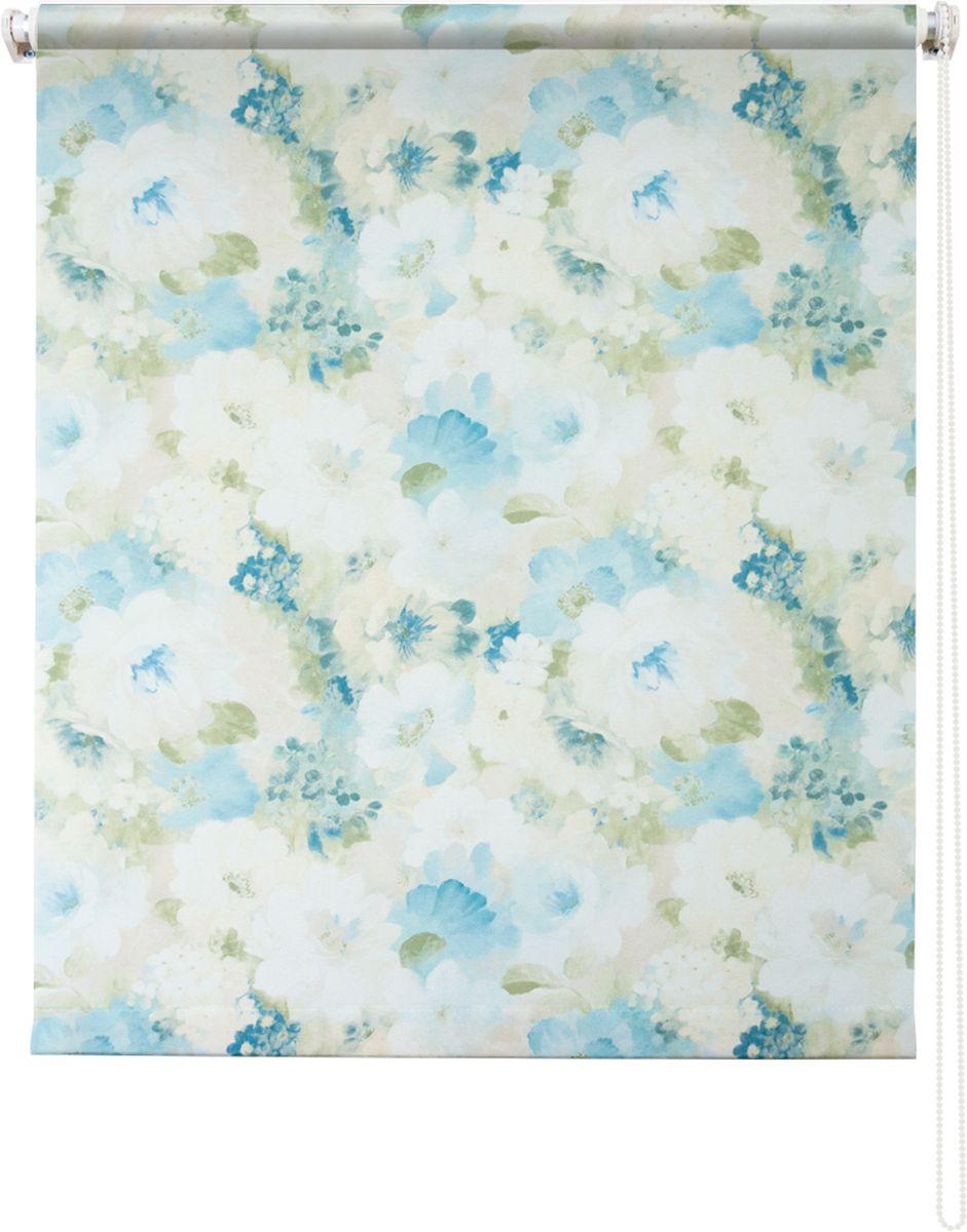 """Штора рулонная Уют """"Пионы"""", цвет: голубой, 140 х 175 см"""