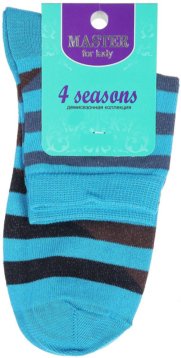Носки женские Master Socks, цвет: голубой, черный, синий, коричневый. 55014. Размер 2555014Удобные носки Master Socks, изготовленные из высококачественного комбинированного материала, очень мягкие и приятные на ощупь, позволяют коже дышать.Эластичная резинка плотно облегает ногу, не сдавливая ее, обеспечивая комфорт и удобство. Модель с укороченным паголенком оформлена принтом с полосками.Удобные и комфортные носки великолепно подойдут к любой вашей обуви.