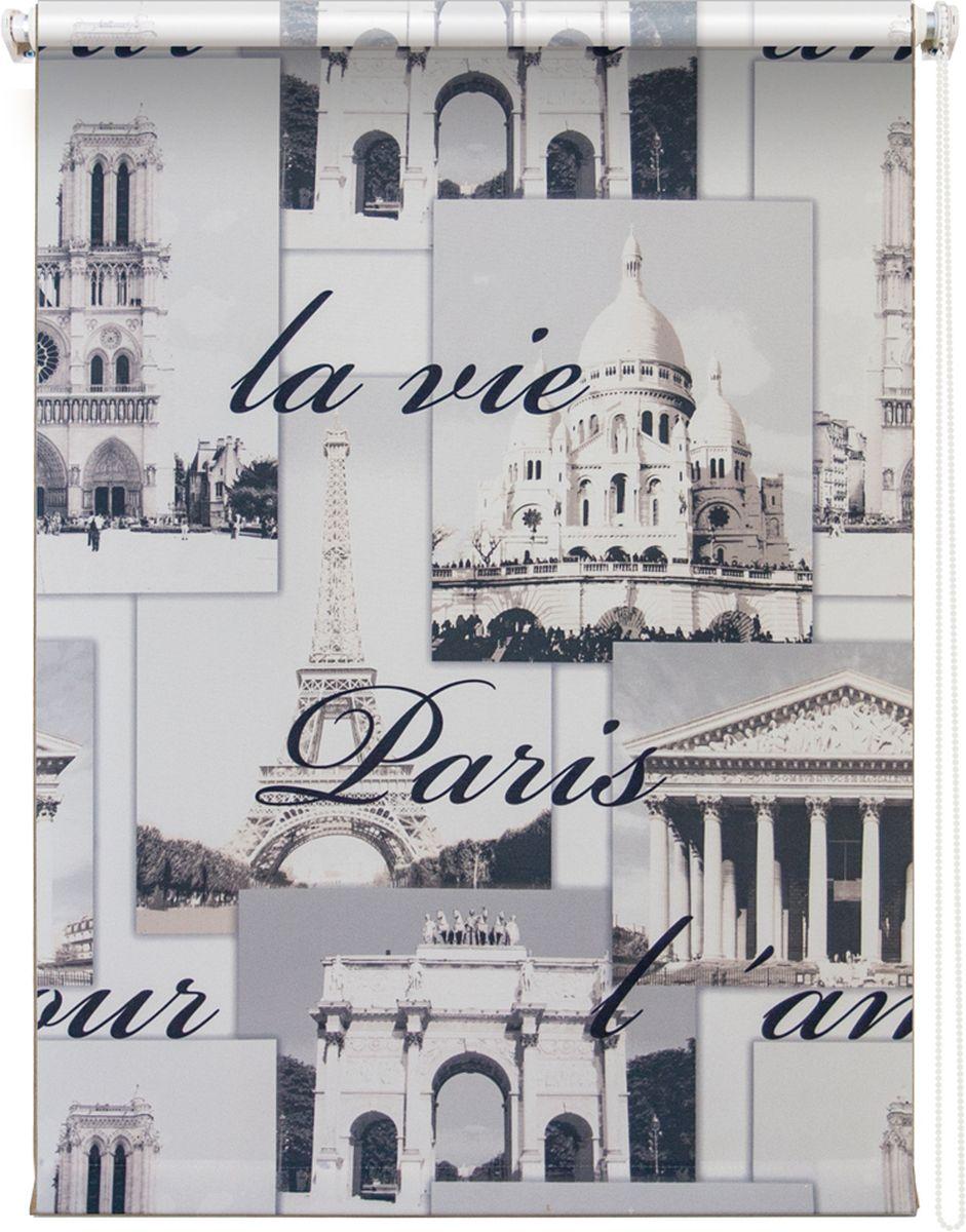 """Штора рулонная Уют """"Париж"""" выполнена из прочного полиэстера с обработкой специальным составом, отталкивающим пыль. Ткань не выцветает, обладает отличной цветоустойчивостью и светонепроницаемостью.  Штора закрывает не весь оконный проем, а непосредственно само стекло и может фиксироваться в любом положении. Она быстро убирается и надежно защищает от посторонних взглядов. Компактность помогает сэкономить пространство. Универсальная конструкция позволяет крепить штору на раму без сверления, также можно монтировать на стену, потолок, створки, в проем, ниши, на деревянные или пластиковые рамы. В комплект входят регулируемые установочные кронштейны и набор для боковой фиксации шторы. Возможна установка с управлением цепочкой как справа, так и слева. Изделие при желании можно самостоятельно уменьшить. Такая штора станет прекрасным элементом декора окна и гармонично впишется в интерьер любого помещения."""