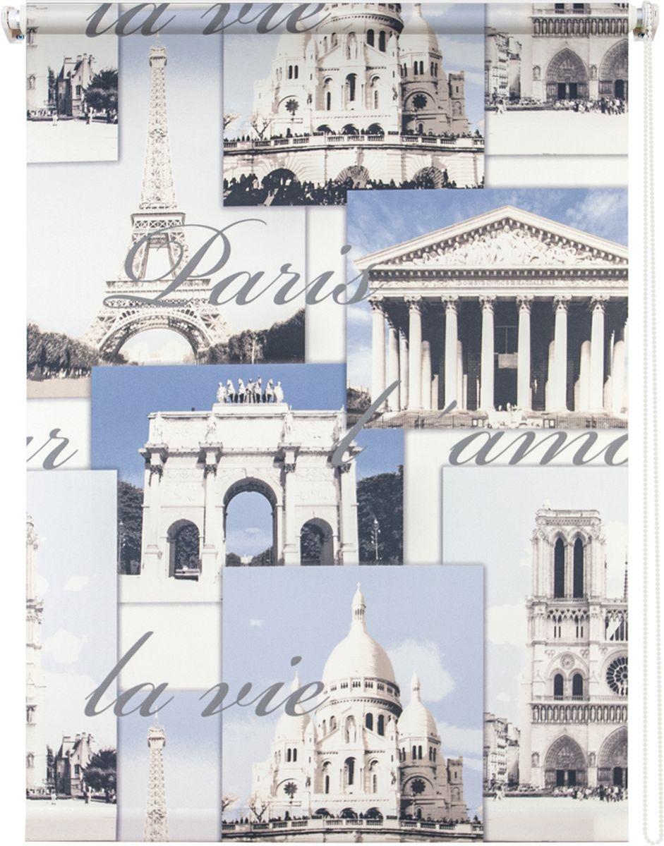 "Штора рулонная Уют ""Париж"", цвет: белый, голубой, серый, 140 х 175 см"