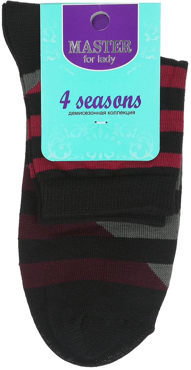 Носки женские Master Socks, цвет: черный, серый, бордовый, красный. 55014. Размер 2555014Удобные носки Master Socks, изготовленные из высококачественного комбинированного материала, очень мягкие и приятные на ощупь, позволяют коже дышать.Эластичная резинка плотно облегает ногу, не сдавливая ее, обеспечивая комфорт и удобство. Модель с укороченным паголенком оформлена принтом с полосками.Удобные и комфортные носки великолепно подойдут к любой вашей обуви.