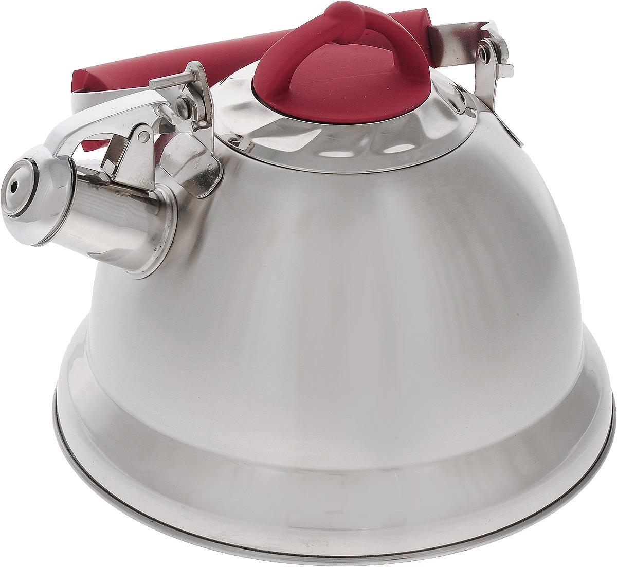 Чайник Mayer & Boch, со свистком, цвет: стальной, красный, 3,2 л. 2278022780Чайник Mayer & Boch изготовлен из высококачественной нержавеющей стали, что делает его весьма гигиеничным и устойчивым к износу при длительном использовании. Капсулированное днообеспечивает равномерный и быстрый нагрев, поэтому вода закипает гораздо быстрее, чем в обычных чайниках. Чайник оснащен откидным свистком, звуковой сигнал которого подскажет, когда закипит вода. Подвижная ручка из стали и бакелита дает дополнительное удобство при разлитии напитка. Чайник Mayer & Boch идеально впишется в интерьер любой кухни и станет замечательным подарком к любому случаю. Подходит для газовых, стеклокерамических, индукционных и электрических плит. Можно мыть в посудомоечной машине. Высота чайника (без учета ручки и крышки): 13,5 см.Высота чайника (с учетом ручки и крышки): 24 см.Диаметр чайника (по верхнему краю): 10,5 см.