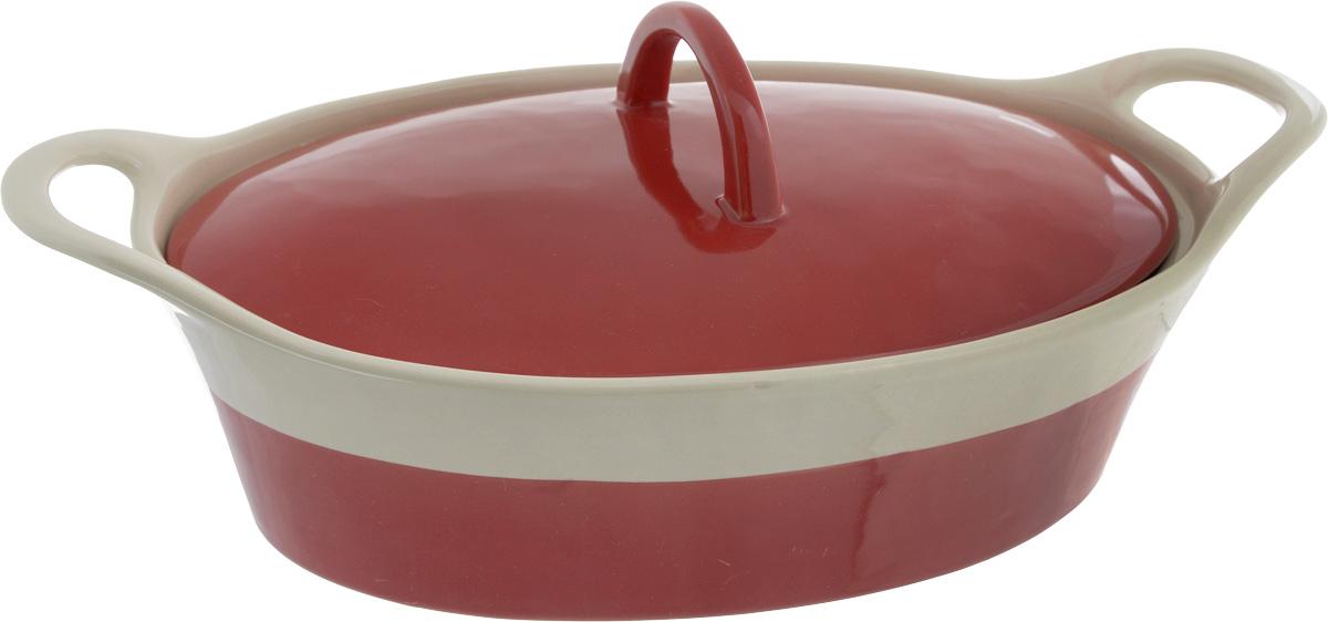 Кастрюля керамическая Mayer & Boch с крышкой, цвет: красный, бежевый, 1,7 л21802Кастрюля-жаровня Mayer & Boch изготовлена из жаропрочной керамики с покрытием глазурью. Пища, приготовленная в керамической посуде, сохраняет свои вкусовые качества и не может нанести вред здоровью человека, благодаря экологической чистоте материала. Керамика - один из самых лучших материалов, который удерживает тепло, медленно и равномерно его распределяет. Посуда имеет прочные стенки и дно, однородные по толщине, благодаря чему нагрев происходит быстро и равномерно. Удобные, направленные вверх ручки помогут вам без труда переставить изделие. Такая кастрюля подходит для запекания, тушения и варки разнообразных блюд. Посуда не впитывает посторонние запахи, не имеет труднодоступных выступов или изгибов, которые накапливают грязь, и легко чистится. Жаропрочная керамика выдерживает температуру от -20°С до 400°С, поэтому такую кастрюлю можно использовать в духовке, микроволновой и конвекционной печи, а также для хранения продуктов в холодильнике и морозильной камере. Не подходит для использования на открытом огне. Пригодна для мытья в посудомоечной машине. Размер кастрюли (по верхнему краю): 27 х 19 см. Высота стенки: 8,5 см. Ширина (с учетом ручек): 32,5 см.