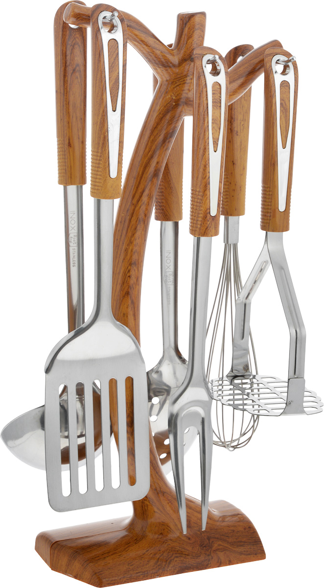 Набор кухонных принадлежностей Mayer & Boch, 7 предметов. 29242924Набор кухонных принадлежностей Mayer & Boch превратит приготовление еды в настоящее удовольствие. Набор состоит из вилки, лопатки с прорезями, венчика, ложки, пресса для картофеля, половника и подставки. Приборы выполнены из высококачественной нержавеющей стали. Нержавеющая сталь идеально подходит для приготовления пищи, она не окисляется со временем и не портит вкус ваших блюд. Изделия снабжены длинными эргономичными нескользящими ручками из пластика под дерево, которые защитят ваши руки от ожогов. Этот профессиональный набор очень удобен в использовании и имеет стильную подставку, которая впишется в любой интерьер и позволит хранить приборы в одном месте. Длина вилки: 32,5 см. Размер рабочей поверхности вилки: 9,5 х 3,5 см. Длина лопатки: 33 см. Размер рабочей поверхности лопатки: 7,5 х 10 см. Длина венчика: 30 см. Размер рабочей поверхности венчика: 5 х 5 х 15 см. Длина ложки: 32 см. Размер рабочей поверхности ложки: 7 х 10 см. Длина пресса для картофеля: 24 см. Размер рабочей поверхности пресса: 9 х 8 см. Длина половника: 33,5 см. Диаметр рабочей поверхности половника: 9 см. Размер подставки: 14,5 х 8 х 38 см.