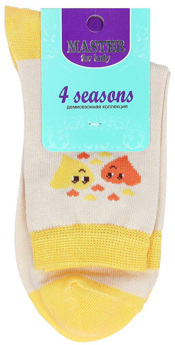 Носки женские Master Socks, цвет: бежевый, желтый. 55003. Размер 2555003Удобные носки Master Socks, изготовленные из высококачественного комбинированного материала, очень мягкие и приятные на ощупь, позволяют коже дышать. Эластичная резинка плотно облегает ногу, не сдавливая ее, обеспечивая комфорт и удобство. Носки с паголенком классической длины оформлены оригинальным рисунком в виде сердец. Практичные и комфортные носки великолепно подойдут к любой вашей обуви.