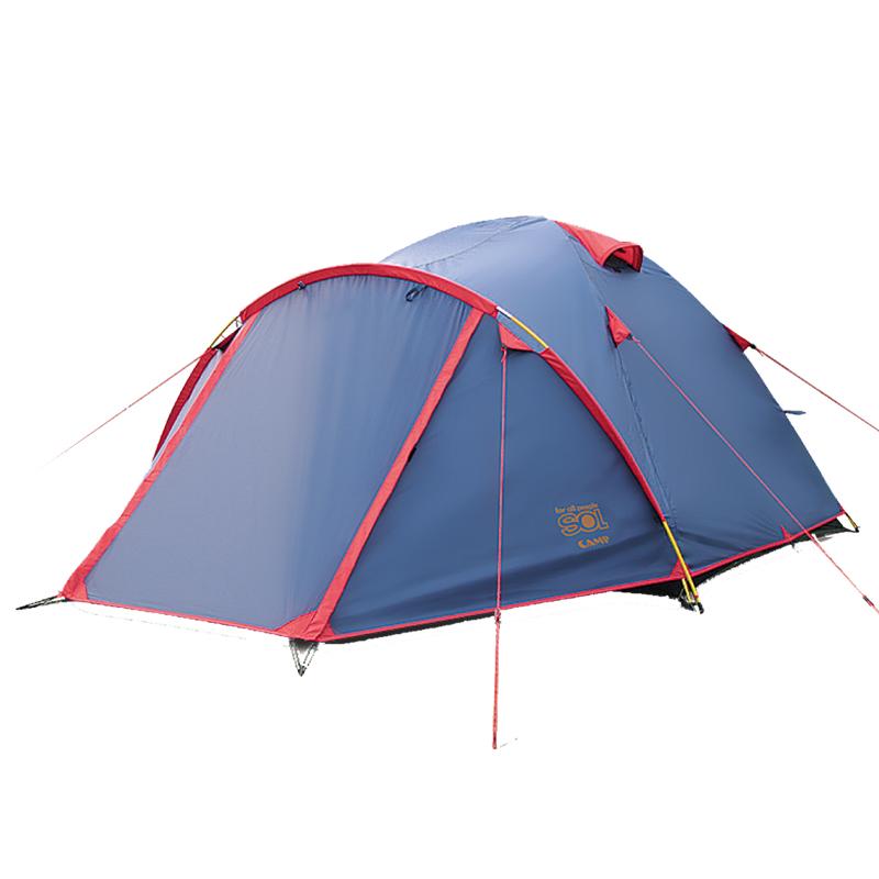 Палатка Sol Camp 3, цвет: синий. SLT-007. 06SLT-007.06Тramp Sol Camp 3 - двухслойная палатка с двумя входами. Вход спального отделения продублирован москитной сеткой. Увеличенный тамбур, два вентиляционных клапана, все швы проклеены. Палатка идеальна для серьезных туристических походов в любое время года и при любых погодных условиях. Размер: 370 х 230 см. Высота: 130 см. Количество входов: 2. Количество мест: 3. Размер спального места: 210 х 210 см. Количество тамбуров: 2. Тент: полиэстер. Каркас: фибергласс. Дно: полиэстер. Полный вес: 4 кг.