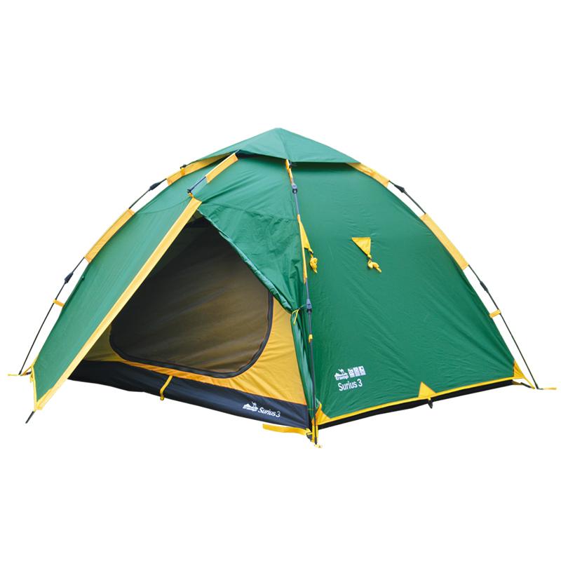 Палатка Тramp Siruis 3, цвет: зеленыйTRT-117Двухслойная палатка Тramp Siruis 3 с двумя входами устанавливается всего за одну минуту. Внешний тент палатки устойчив к ультрафиолетовому излучению и имеет пропитку, задерживающую распространение огня. Два тамбура на дуге коромысло. В куполе палатки расположено вентиляционное окно. Светоотражающие оттяжки, все швы проклеены. Палатка идеальна для автотуристовРазмер спального места: 180 х 210 см.Размер тамбура: 90 + 90 см.Что взять с собой в поход?. Статья OZON Гид