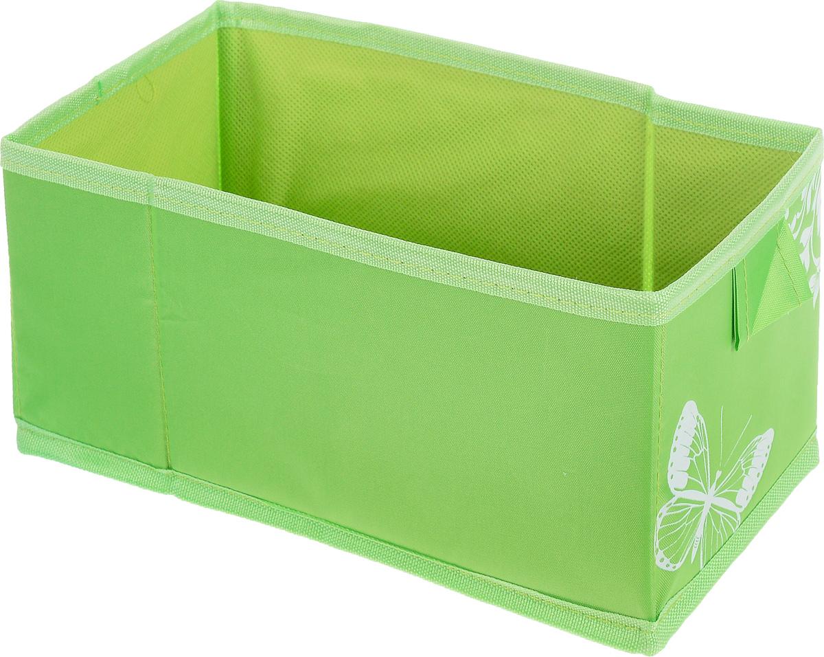 """Коробка для хранения вещей Hausmann """"Butterfly"""" поможет легко организовать пространство в шкафу или в гардеробе. Изделие выполнено из нетканого материала и полиэстера. Коробка держит форму благодаря жесткой вставке из картона, которая устанавливается на дно.  Боковая поверхность оформлена красивым принтом с изображением бабочек. В такой коробке удобно хранить нижнее белье, ремни и различные аксессуары. Размер кофра (в собранном виде): 13 x 27 x 12,5 см."""