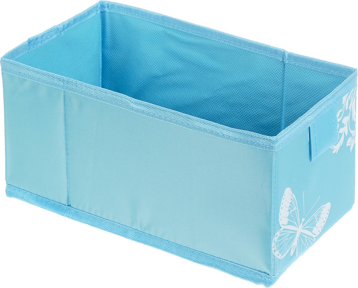 Коробка для хранения Hausmann Butterfly, цвет: голубой, 13 х 27 х 12,5 см4P-107-M4С_голубойКоробка для хранения Hausmann поможет легко организовать пространство в шкафу или в гардеробе. Изделие выполнено из нетканого материала и полиэстера. Коробка держит форму благодаря жесткой вставке из картона, которая устанавливается на дно. Боковая поверхность оформлена красивым принтом и изображением бабочки. В такой коробке удобно хранить нижнее белье, ремни и различные аксессуары.