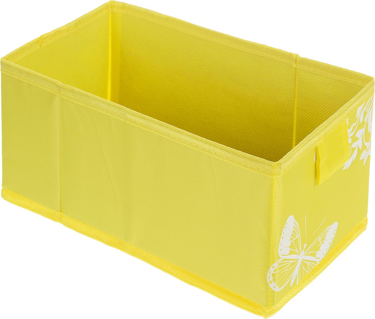 Коробка для хранения Hausmann Butterfly, цвет: желтый, 13 x 27 x 12,5 см4P-107-M4С_желтыйКоробка для хранения вещей Hausmann Butterfly поможет легко организовать пространство в шкафу или в гардеробе. Изделие выполнено из нетканого материала и полиэстера. Коробка держит форму благодаря жесткой вставке из картона, которая устанавливается на дно.Боковая поверхность оформлена красивым принтом с изображением бабочек. В такой коробке удобно хранить нижнее белье, ремни и различные аксессуары. Размер кофра (в собранном виде): 13 x 27 x 12,5 см.