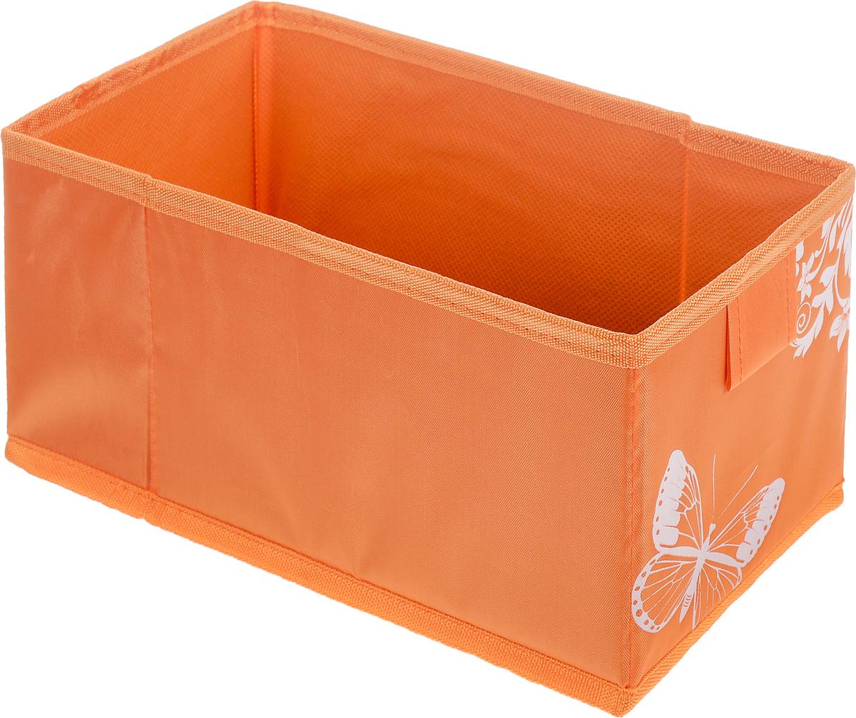 Коробка для хранения Hausmann Butterfly, цвет: оранжевый, 13 х 27 х 12,5 см4P-107-M4С_оранжевыйКоробка для хранения Hausmann Butterfly поможет легко организовать пространство в шкафу или в гардеробе. Изделие выполнено из нетканого материала и полиэстера. Коробка держит форму благодаря жесткой вставке из картона, которая устанавливается на дно. Боковая поверхность оформлена красивым принтом с изображением бабочек.В такой коробке удобно хранить нижнее белье, ремни и различные аксессуары.