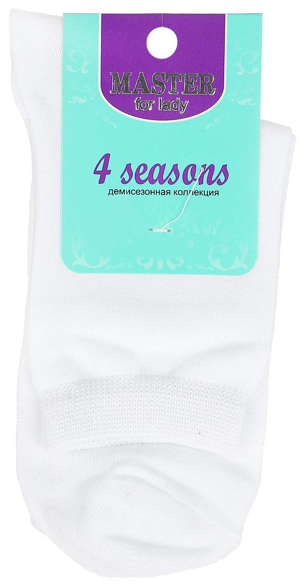 Носки женские Master Socks, цвет: белый. 55001. Размер 2355001Удобные носки Master Socks, изготовленные из высококачественного комбинированного материала, очень мягкие и приятные на ощупь, позволяют коже дышать. Эластичная резинка плотно облегает ногу, не сдавливая ее, обеспечивая комфорт и удобство. Носки с паголенком классической длины. Практичные и комфортные носки великолепно подойдут к любой вашей обуви.