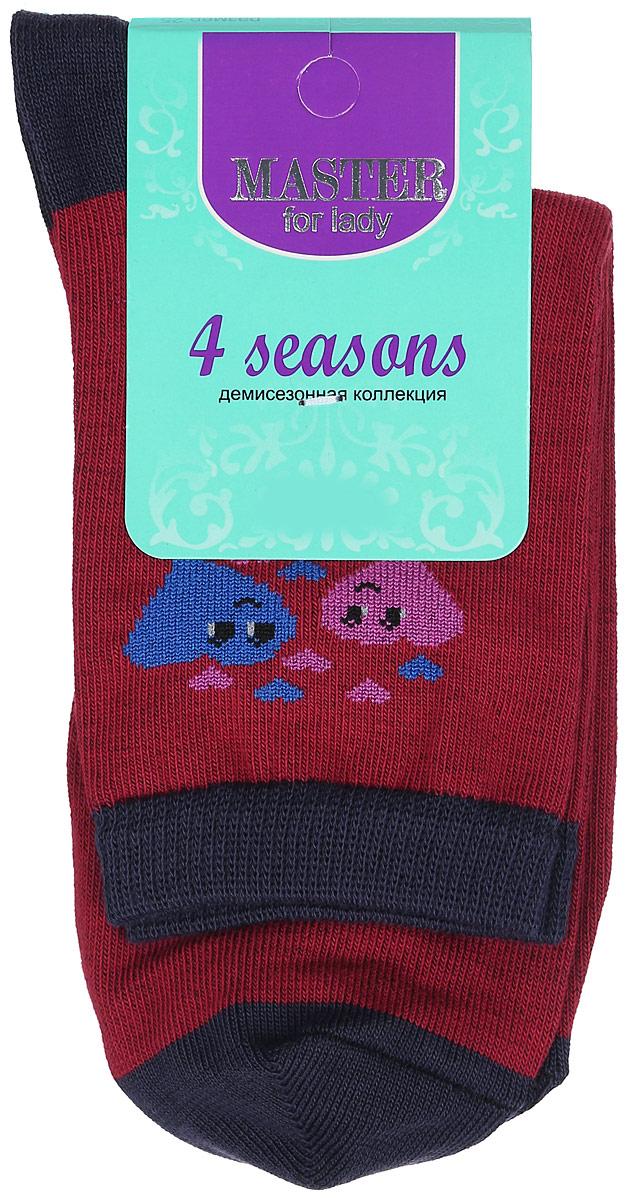 Носки женские Master Socks, цвет: бордовый, черный. 55003. Размер 2355003Удобные носки Master Socks, изготовленные из высококачественного комбинированного материала, очень мягкие и приятные на ощупь, позволяют коже дышать. Эластичная резинка плотно облегает ногу, не сдавливая ее, обеспечивая комфорт и удобство. Носки с паголенком классической длины оформлены оригинальным рисунком в виде сердец. Практичные и комфортные носки великолепно подойдут к любой вашей обуви.